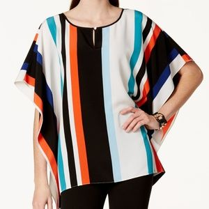 Vince Camuto Multi Striped Keyhole Poncho Blouse S